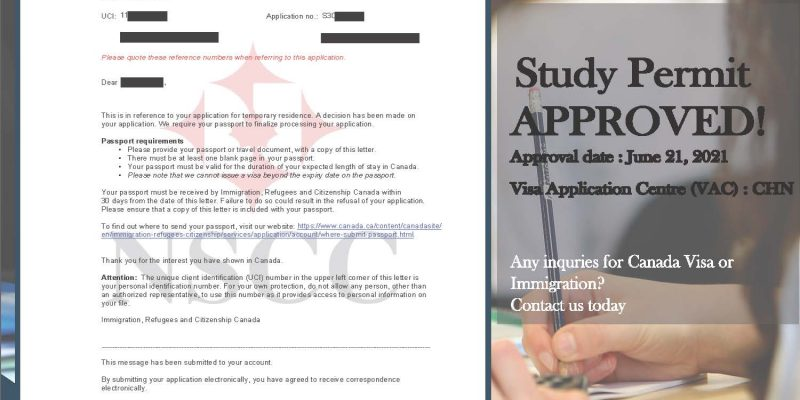 June 21, 2021, Study Permit- Passport mailing request